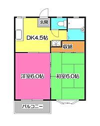 埼玉県所沢市小手指町4丁目の賃貸アパートの間取り
