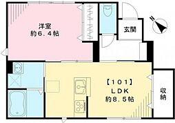 東京都杉並区宮前2丁目の賃貸アパートの間取り