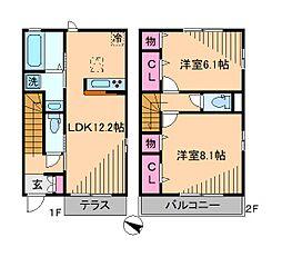 神奈川県横浜市都筑区大棚町の賃貸アパートの間取り