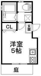 LOFTY伏見稲荷駅前 1階ワンルームの間取り