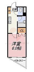 南海高野線 白鷺駅 徒歩5分の賃貸マンション 3階1Kの間取り