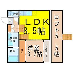 近鉄名古屋線 烏森駅 徒歩4分の賃貸アパート 2階1SLDKの間取り