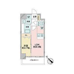 JR中央本線 鶴舞駅 徒歩2分の賃貸マンション 3階1LDKの間取り