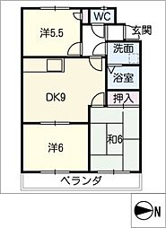 ファミリーマンション鈴[1階]の間取り