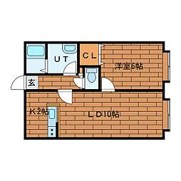 北海道札幌市中央区南十三条西23丁目の賃貸アパートの間取り