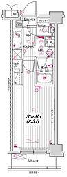 東京メトロ東西線 門前仲町駅 徒歩7分の賃貸マンション 6階1Kの間取り