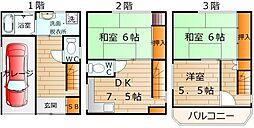 [一戸建] 大阪府東大阪市若江本町2丁目 の賃貸【/】の間取り