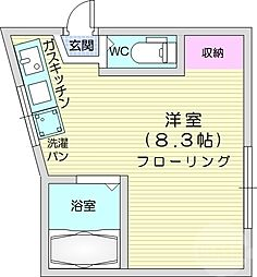 JR仙山線 東北福祉大前駅 徒歩18分の賃貸アパート 1階ワンルームの間取り