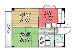 千葉県四街道市大日の賃貸マンションの間取り