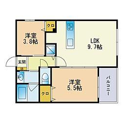キミヱ飯倉レジデンス 3階2LDKの間取り