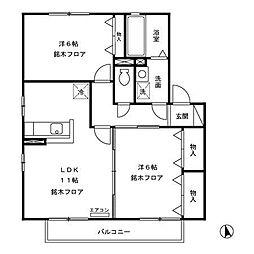 長野県長野市稲里町中央3丁目の賃貸アパートの間取り