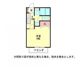 愛知県小牧市大字北外山の賃貸アパートの間取り