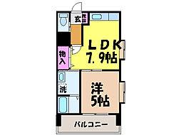 愛媛県松山市平和通2丁目の賃貸マンションの間取り