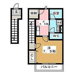 [新築] oblige 新田町 2階1Kの間取り