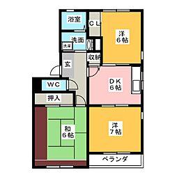 クレール歌里[3階]の間取り