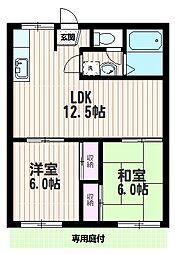 岩崎コーポ[102号室]の間取り