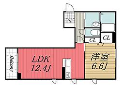 JR内房線 姉ヶ崎駅 徒歩7分の賃貸マンション 2階1LDKの間取り