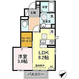 (仮)D-room南浜 A棟 1階1LDKの間取り