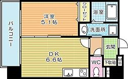 JR鹿児島本線 小倉駅 徒歩9分の賃貸マンション 6階1DKの間取り