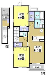 静岡県袋井市下山梨の賃貸アパートの間取り