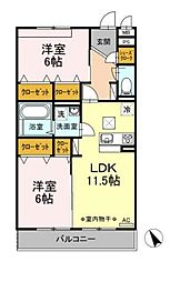 D-room大庭[101号室]の間取り