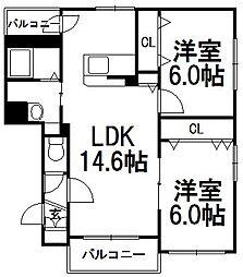 ユール八軒[2階]の間取り