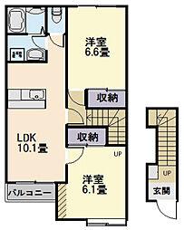 三重県松阪市星合町の賃貸アパートの間取り