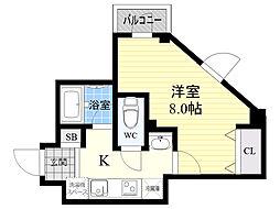 La famille k 4階1Kの間取り