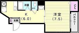 神戸市西神・山手線 板宿駅 徒歩5分の賃貸マンション 2階1Kの間取り