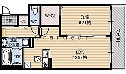 フルールM 2階1LDKの間取り