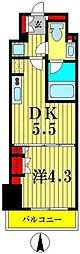 ルフォンプログレ菊川 5階1DKの間取り