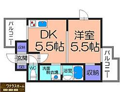 大阪府堺市堺区北三国ヶ丘町6丁の賃貸マンションの間取り