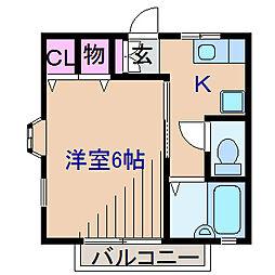神奈川県横浜市港北区大倉山1の賃貸アパートの間取り