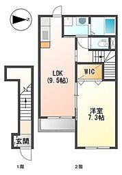 伊予鉄道高浜線 山西駅 徒歩4分の賃貸アパート 2階1LDKの間取り
