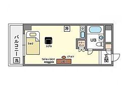 家具・家電付きプチメゾン薬院[5階]の間取り