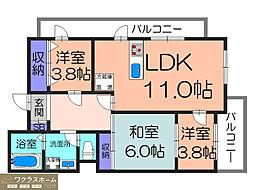大阪府堺市堺区南陵町4丁の賃貸アパートの間取り