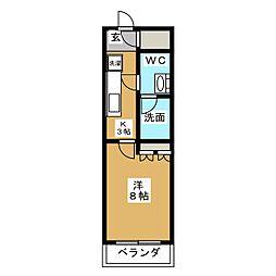 HY´S亀戸 8階1Kの間取り