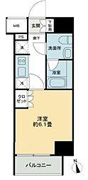 JR山手線 五反田駅 徒歩9分の賃貸マンション 7階1Kの間取り