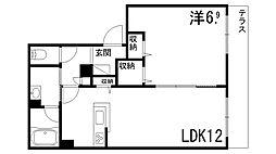 シャーメゾンしきさいII 1階1LDKの間取り
