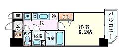 プレサンス梅田北アーリー 3階1Kの間取り
