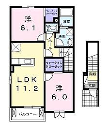 広島県福山市山手町5丁目の賃貸アパートの間取り