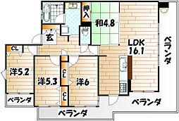 サンライフ小倉II[8階]の間取り