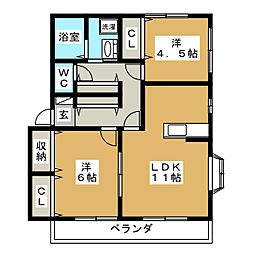 ピュアハイツB[1階]の間取り