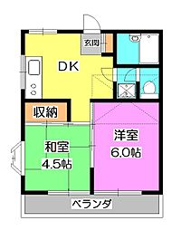 東京都清瀬市中清戸2丁目の賃貸アパートの間取り
