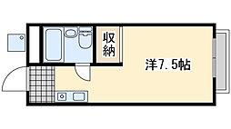 高田マンション 2階ワンルームの間取り
