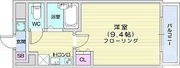 仙台市地下鉄東西線 国際センター駅 徒歩10分の賃貸マンション 8階1Kの間取り