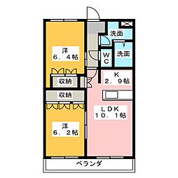 グランピュアW[1階]の間取り