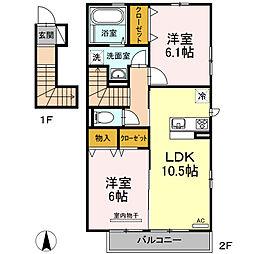 伊予鉄道高浜線 衣山駅 徒歩27分の賃貸アパート 2階2LDKの間取り