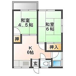 秋本ハイツB 2階2Kの間取り