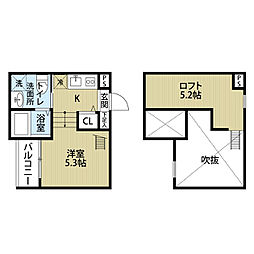 愛知県名古屋市中村区東宿町2丁目の賃貸アパートの間取り